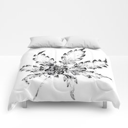 Black & White (Cannabis Resin Leaf) Comforters