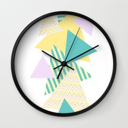 Geometric - Triangles, Pastel Party Wall Clock