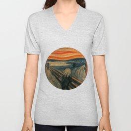 The Scream by Edvard Munch, circa 1893 Unisex V-Neck
