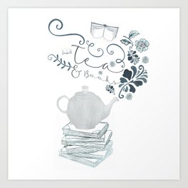 Tea and Books Art Print