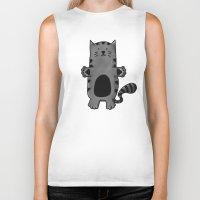 kitty Biker Tanks featuring Kitty by Studio14