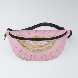Evil Eye Gold on Pink #1 #drawing #decor #art #society6 Fanny Pack