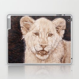 Lion Cub Portrait - Drawing by Burning on Wood - Pyrography art Laptop & iPad Skin