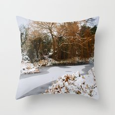 The Old Mill Stream in Winter Throw Pillow