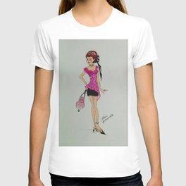pink chiffon blouse, pink chiffon, pink blouse, fashion illustration, cute fashion, fashionable, T-shirt