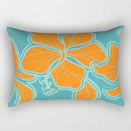 Kailua Hibiscus Hawaiian Engineered Floral Rectangular Pillow