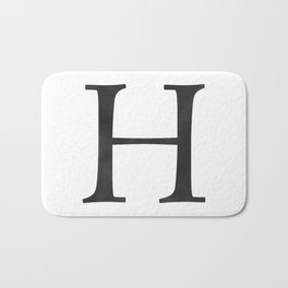 Letter H Initial Monogram Black and White Bath Mat
