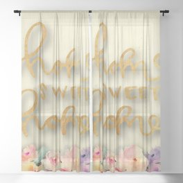 "Retro ""home sweet home"" Sheer Curtain"