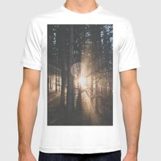 Sun Rays White MEDIUM Mens Fitted Tee