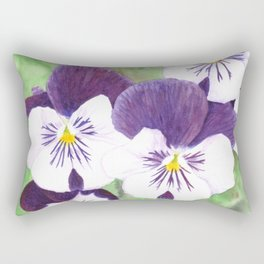 Purple and white pansies flowers Rectangular Pillow