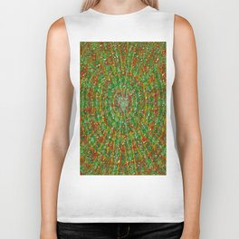 Abstract Green Red Yellow and White Biker Tank