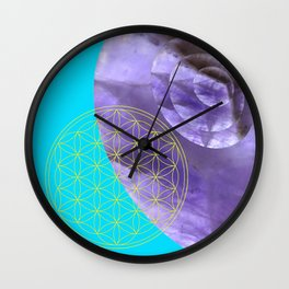Mystical Flower of Life Amethyst #society6 Wall Clock