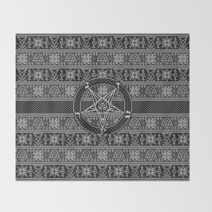 Satanic Christmas Sweater.Satanic Ugly Sweater Throw Blanket