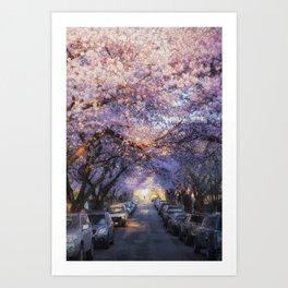 Cherry Blossom Road Vancouver Art Print