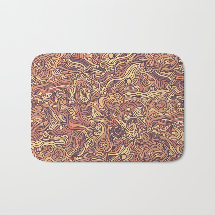 Abstract colorful hand drawn curly pattern design Bath Mat