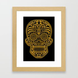 Intricate Yellow and Black Day of the Dead Sugar Skull Framed Art Print