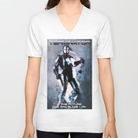 terminator V-neck T-shirts featuring Terminator by MartiniWithATwist