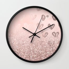 Rose Gold Sparkles on Pretty Blush Pink with Hearts Wall Clock