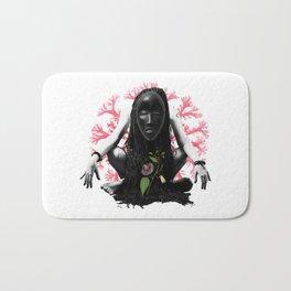 Passion flower mask collage Bath Mat