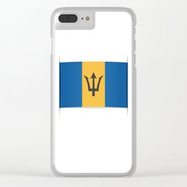 Flag of Barbados. The slit in the paper with shadows. Clear iPhone Case
