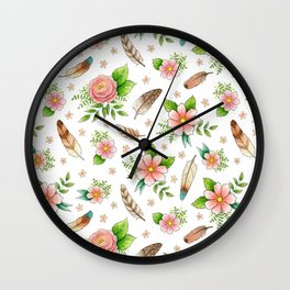 Feathers and Flowers Wall Clock