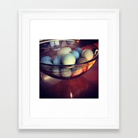 eggs Framed Art Prints featuring Eggs by Yellow Barn Studio