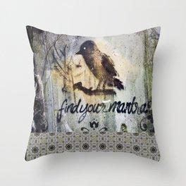 Zen Mantra Black Bird Graffiti Grunge Mandala Tile Design Throw Pillow