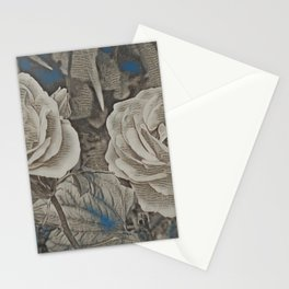Rose Art Newspaper Print Stationery Cards