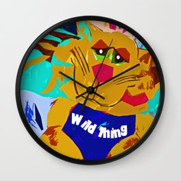 Funky Cat Wild thing Wall Clock