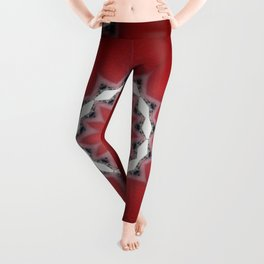 Red Flower with Black and White Accents Leggings
