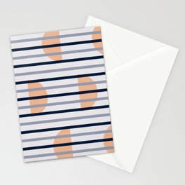 Simple Winter Moon with Stripe Stationery Cards
