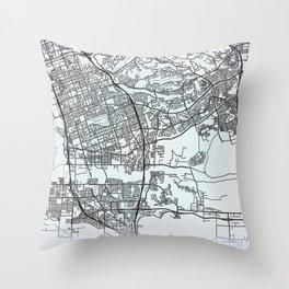 Chula Vista, CA, USA, White, City, Map Throw Pillow