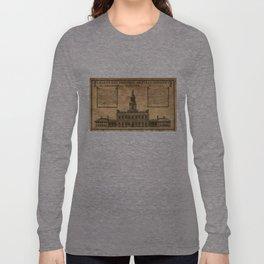 Vintage Illustration of Independence Hall Long Sleeve T-shirt