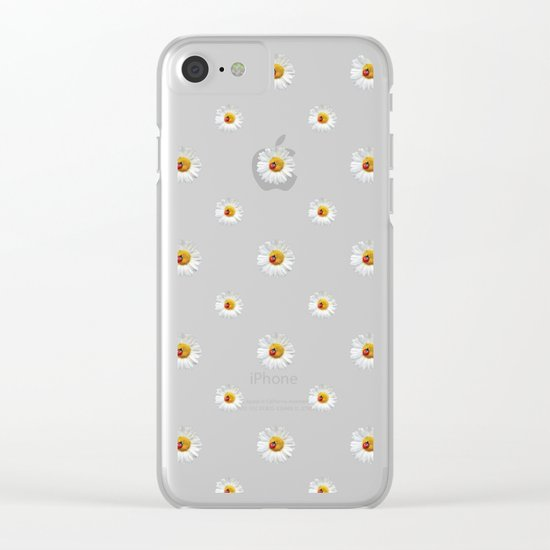Daisies in love- pink pattern Clear iPhone Case