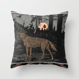 Wolf in the Night By Ivan Biblin Throw Pillow