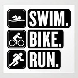 Swim Bike Run Block 2 Art Print