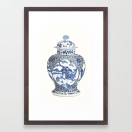 Blue & White Chinoiserie Porcelain Ginger Jar with Country Scene Framed Art Print