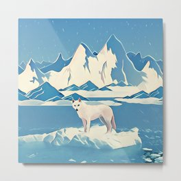 Wolf and the blue mountain Metal Print
