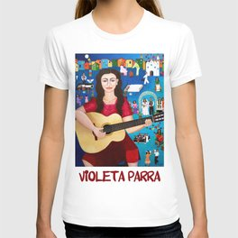 Violeta Parra playing guitar T-shirt