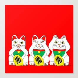 Three Wise Lucky Cats on Red Canvas Print