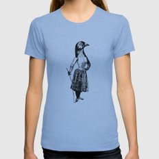 The Fencing Pigeon SMALL Womens Fitted Tee Tri-Blue