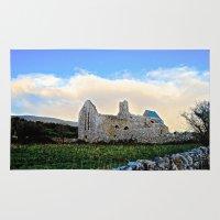 downton abbey Area & Throw Rugs featuring Corcomeroe Abbey by Biff Rendar