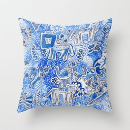Delft Blue and White Pattern Painting with Lions and Tigers and Birds Throw Pillow