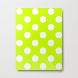 Large Polka Dots - White on Fluorescent Yellow Metal Print