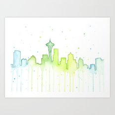 Seattle Skyline Watercolor Space Needle Painting Art Print