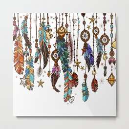 Feathers and crystals in aztec style Metal Print