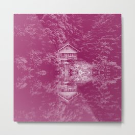 boathouse magenta purple tone washed out effect aesthetic landscape art photography Metal Print