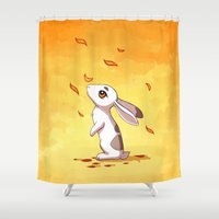 hare Shower Curtains featuring Autumn Hare by Freeminds