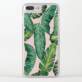 Jungle Leaves, Banana, Monstera II Pink #society6 Clear iPhone Case