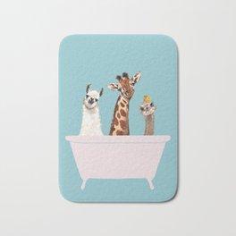 Playful Gangs in Bathtub Blue Bath Mat